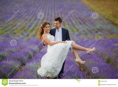 Wedding Lavender Field Stock Photo Image Of Marriage