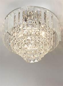 Chrome paladina crystal flush ceiling lights lighting