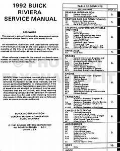 1992 Buick Riviera Repair Shop Manual Original