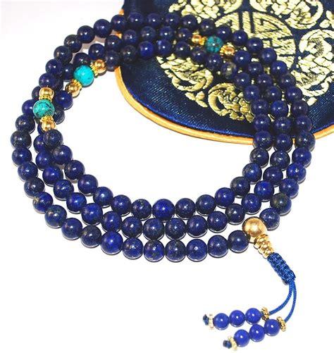 Lapis Mala with Gold and Turquoise - Sakura Designs