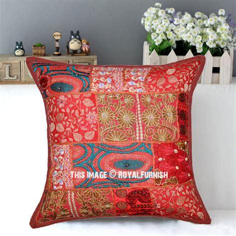 bohemian throw pillows brown boho patchwork embroidered decorative throw pillow
