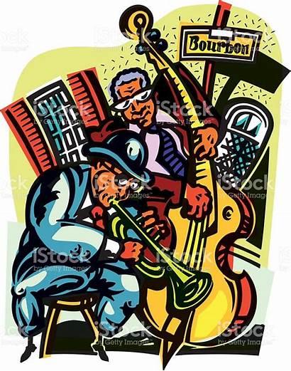 Street Jazz Orleans Bourbon Clipart Musicians Vector