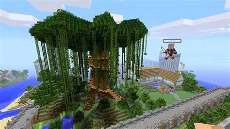 minecraft xbox  beautiful giant tree spanklechanks world  part  youtube