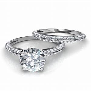 Knife edge pave engagement ring wedding band bridal set for Pave wedding rings
