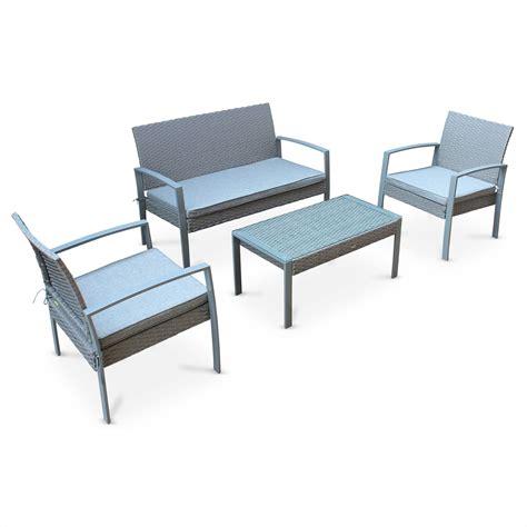 canapé de jardin pas cher ensemble de jardin en résine tressée vicenzo salon 4 places gris coussins gris chiné fauteuil
