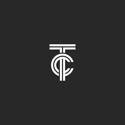 monogram tc symbol hipster initials ct  business cards  wedding invitation black  white