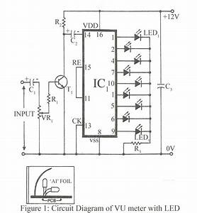 Vu meter with led electronics project for Figure 1 the led vu meter circuit