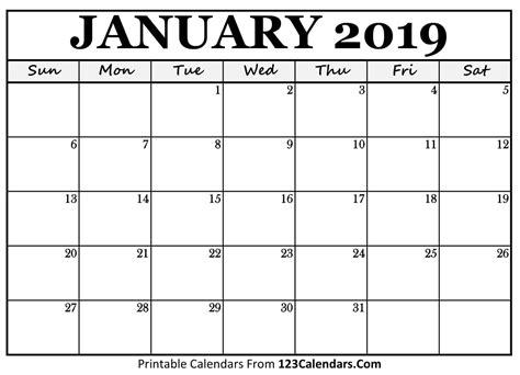 Printable January 2019 Calendar Templates