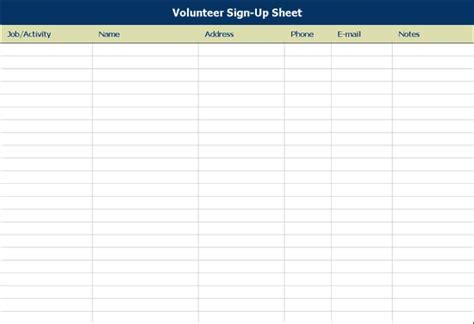 volunteer sign up sheet template volunteer sign up sheet