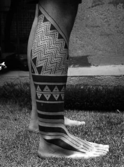 60 Tribal Leg Tattoos For Men - Cool Cultural Design Ideas