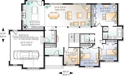 plan maison plain pied 4 chambres avec suite parentale classique bordure de lac chalet w3224 maison