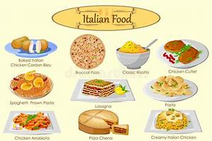 Collection Of Delicious Italian Food Stock Vector