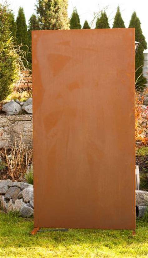 sichtschutz metall garten garten im quadrat moderne sichtschutz wand blanko garten terrasse metall in rost optik