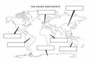 Seven 7 Continents Map of the World Printable