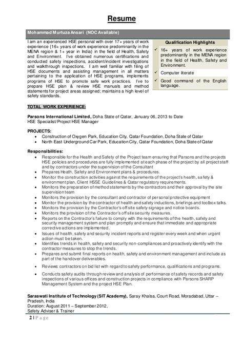 Resume Of Scaffolding Supervisor by 151026 Mohammad Murtaza Ansari