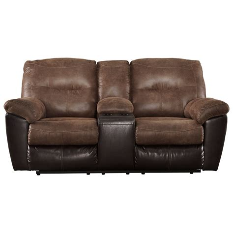 double recliner sofa with console two tone faux leather double reclining loveseat w console