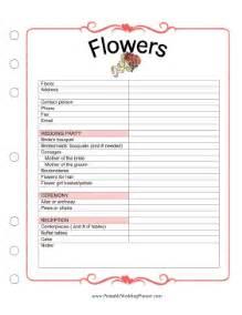 free printable wedding planner flowers