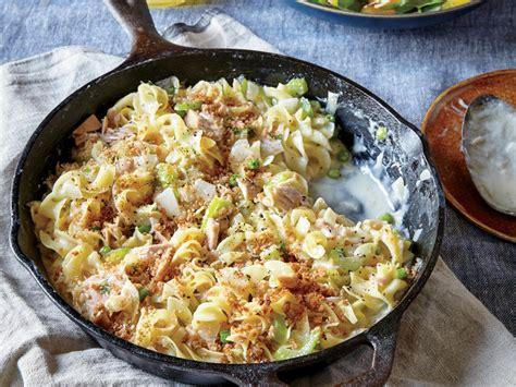 creamy tuna noodle casserole  peas  breadcrumbs