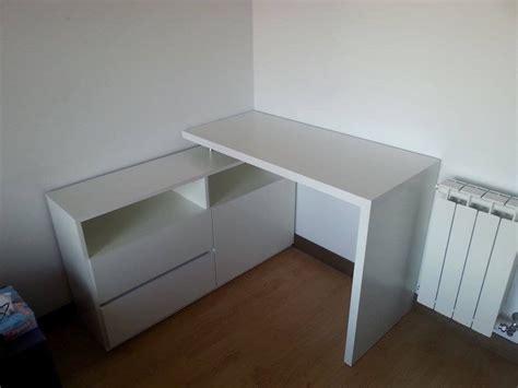 escritorio esquinero moderno melamina blanca  cajonera