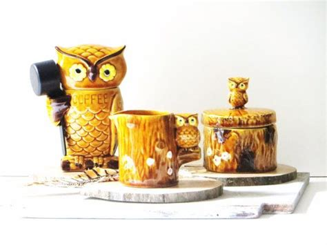Item will be securely packaged. retro ceramic owl coffee, creamer and sugar set, three ...