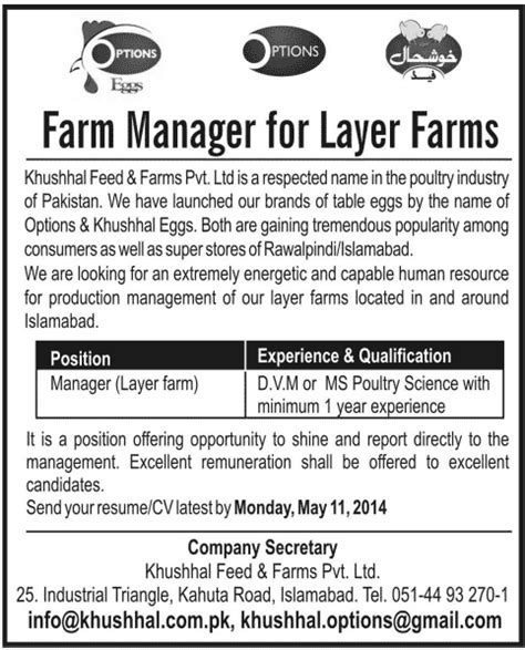 farm manager in islamabad rawalpindi 2014 may at