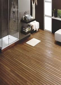 votre salle d39eau avec ce parquet robinier pont de bateau With salle de bain avec parquet pont de bateau