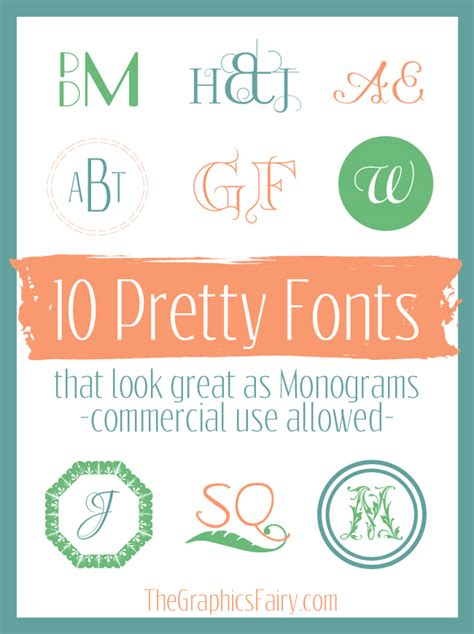 commercial  monogram fonts  graphics fairy
