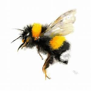 Bee watercolor painting - Bumble Bee Art Print. Nature ...