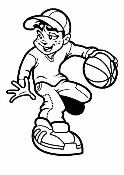 Basketball Coloring Boy Pages Clipart Playing Players