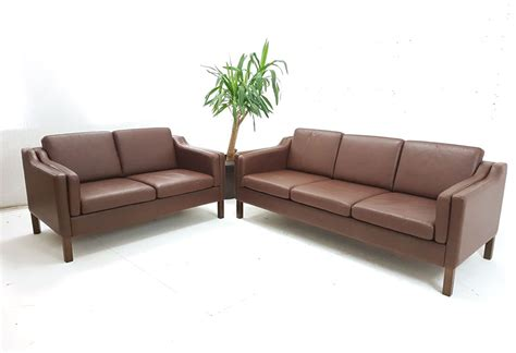 Compact 3 Seater Sofa compact 3 seat box design brown leather sofa