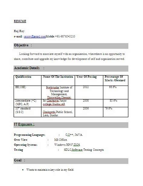 resume format resume format for cse students