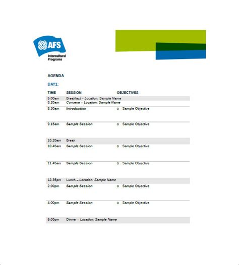 event agenda template   word excel  format
