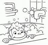 Curious George Coloring Bathing Pages Printable Monkey Bathroom Bath Halloween Colouring Taking Sheets Printables Clipart Drawing Cartoon Take Library Shower sketch template