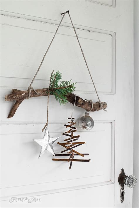 rustic twig christmas tree ornament   branchfunky junk