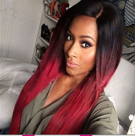 Cheap Burg/Grey Ombre Synthetic Wigs For Black Women 28