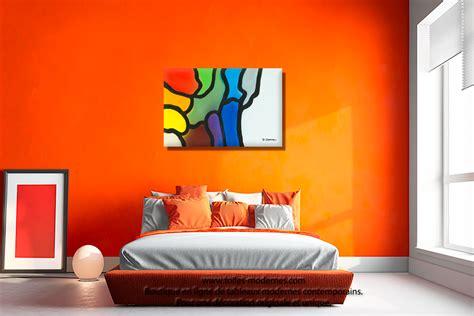 idees deco chambre adulte tableau violet bleu gris décoration originale design