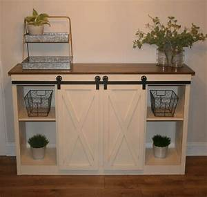 farmhouse style buffet table or tv console by With buffet table with barn doors