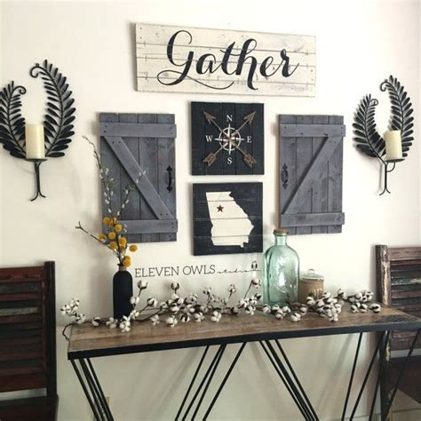 gather sign  piece set rustic gallery wall set rustic