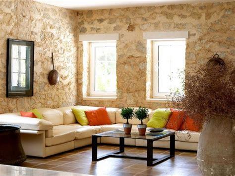 Stone Walled Beige Living Room Walls