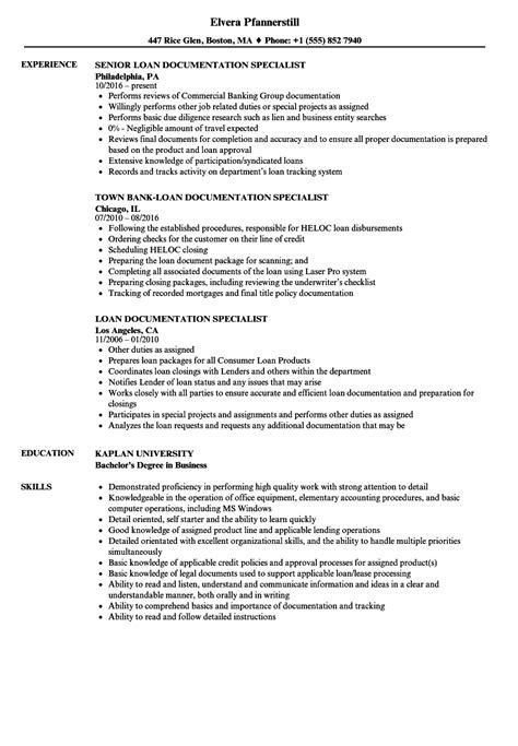 loan documentation specialist resume sles velvet