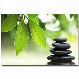 NICOLESHENTING ZEN Stone and Bamboo Meditation Art Silk