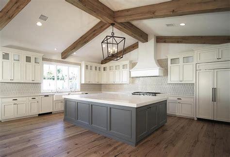 Off White Sullivan Kitchen Cabinets With Dark Grey Island