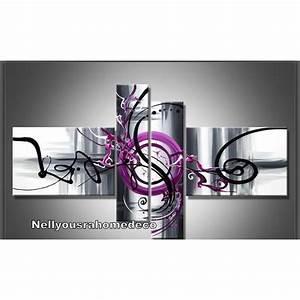 Tableau Deco Design : tableau design purple noir gris violet achat vente tableau toile toile coton cdiscount ~ Melissatoandfro.com Idées de Décoration
