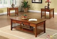 oak accent tables Seville Mission Antique Oak Accent Tables Set with Drawer ...