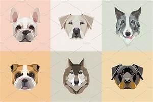 Geometric dogs vector illustrations ~ Illustrations ...
