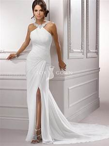 chiffon pleated bodice halter wedding dress with sexy side With chiffon dresses for wedding