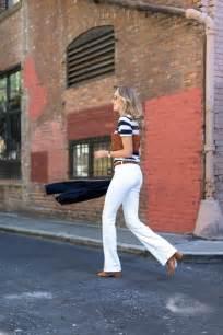fashion revival flare leg jeans striped  shirt mules