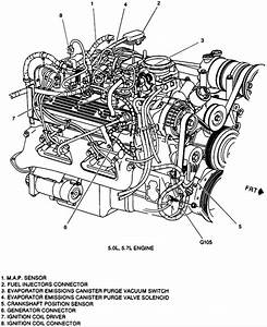 Automotive Engine Compartment Parts And Connection Diagram