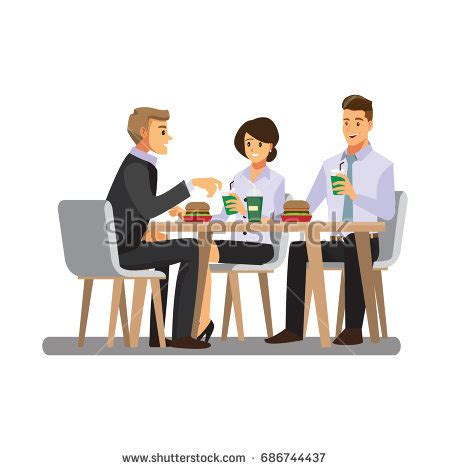12667 business lunch meeting clipart business meeting on cafevector stock vector