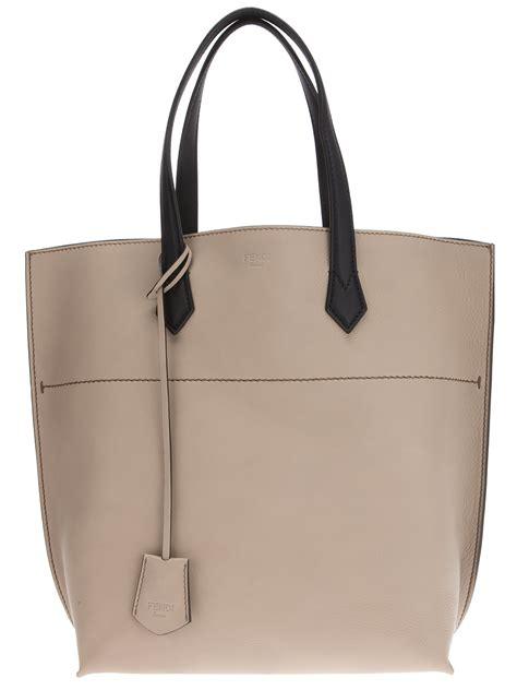 fendi shopper bag  grey gray lyst